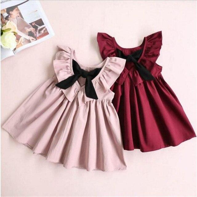Neue Kleinkind Infant Baby Mädchen Kleid einfarbig Bänder Gefalteten Kleider Baumwolle Kleidung Outfits Ärmelloses A-linie Casual Kleidung