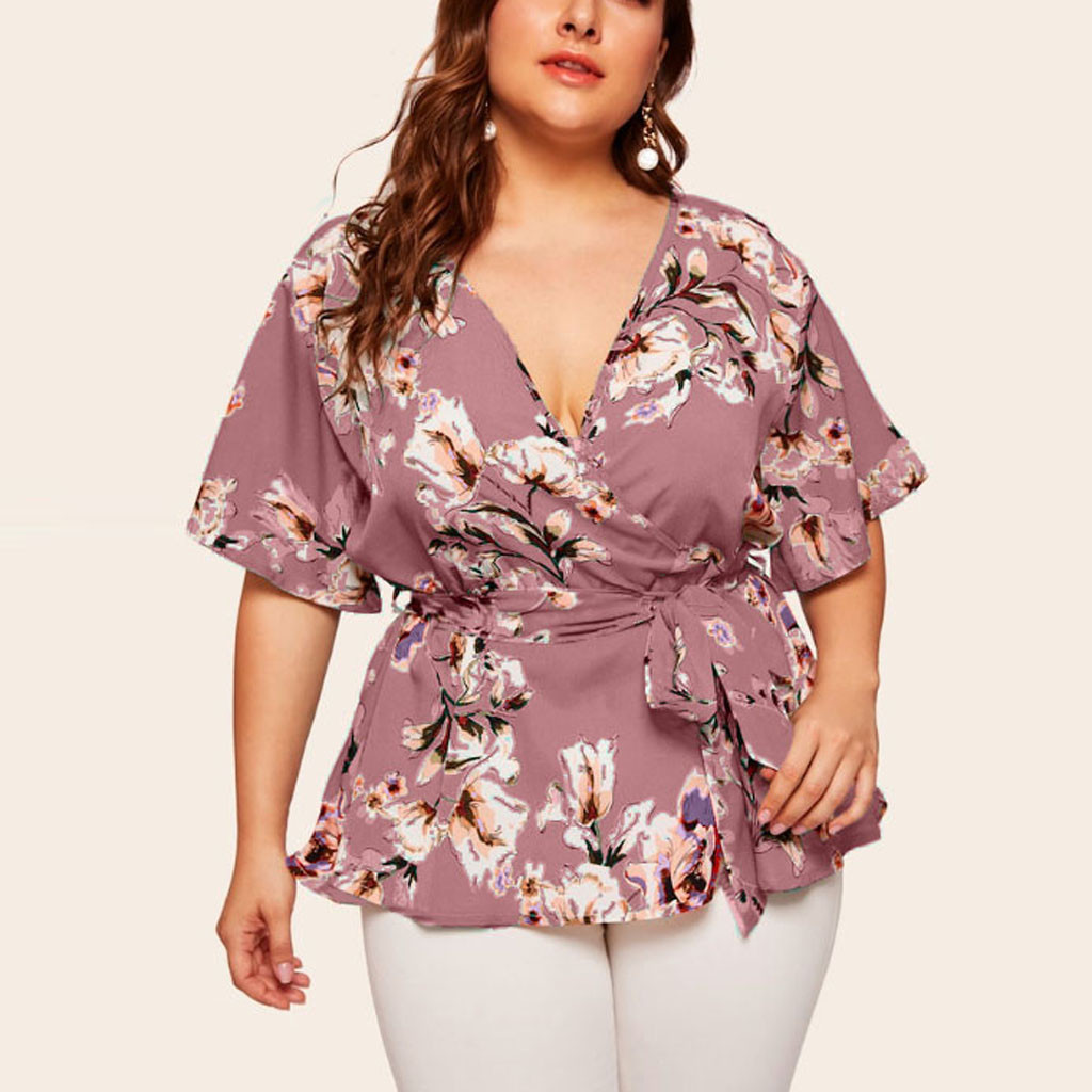 20# Summer Women's Plus Size Sexy V Neck Floral Print Flare Sleeve Belted Surplice Peplum Tops And Blusas Feminina(China)