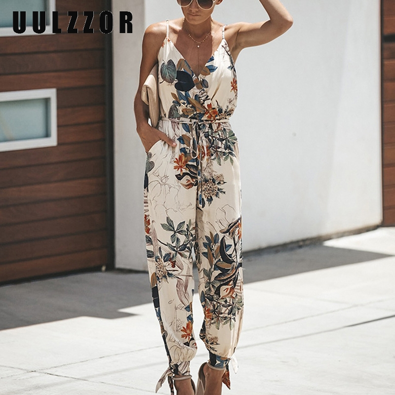 UULZZOR New Sexy Spaghetti Cross Strap Lace Up   Jumpsuits   Summer Women V Neck Flower print Casual Pockets Long Romper Female wear