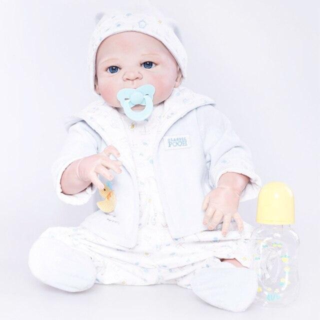 55 см полный силиконовые возрождается для маленьких мальчиков игрушки куклы 22 дюймов виниловые новорожденных Bebe Кукла реборн Обувь для девочек bonecas купаться игрушка подарок для детей