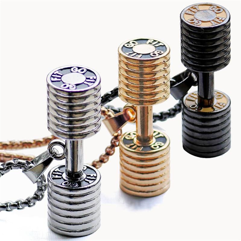 Haute qualité or noir argent couleur grand petit pendentif dhaltères collier pour hommes cadeaux à la mode fitness bijoux dhaltères