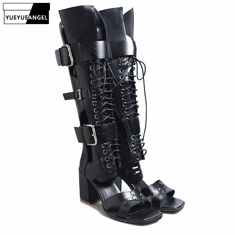 Summer Buckle Strap Lace Up Block High Heels Long Boots Women Rome Style Street Genuine Leather Peep Toe Sandals Red Black 34-40Summer Buckle Strap Lace Up Block High Heels Long Boots Women Rome Style Street Genuine Leather Peep Toe Sandals Red Black 34-40