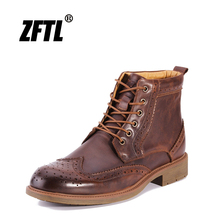 ZFTL New Men Martins Boots Handmade Genuine Leather Man Bullock High-top men boots Casual  Lace-up male shoes 009