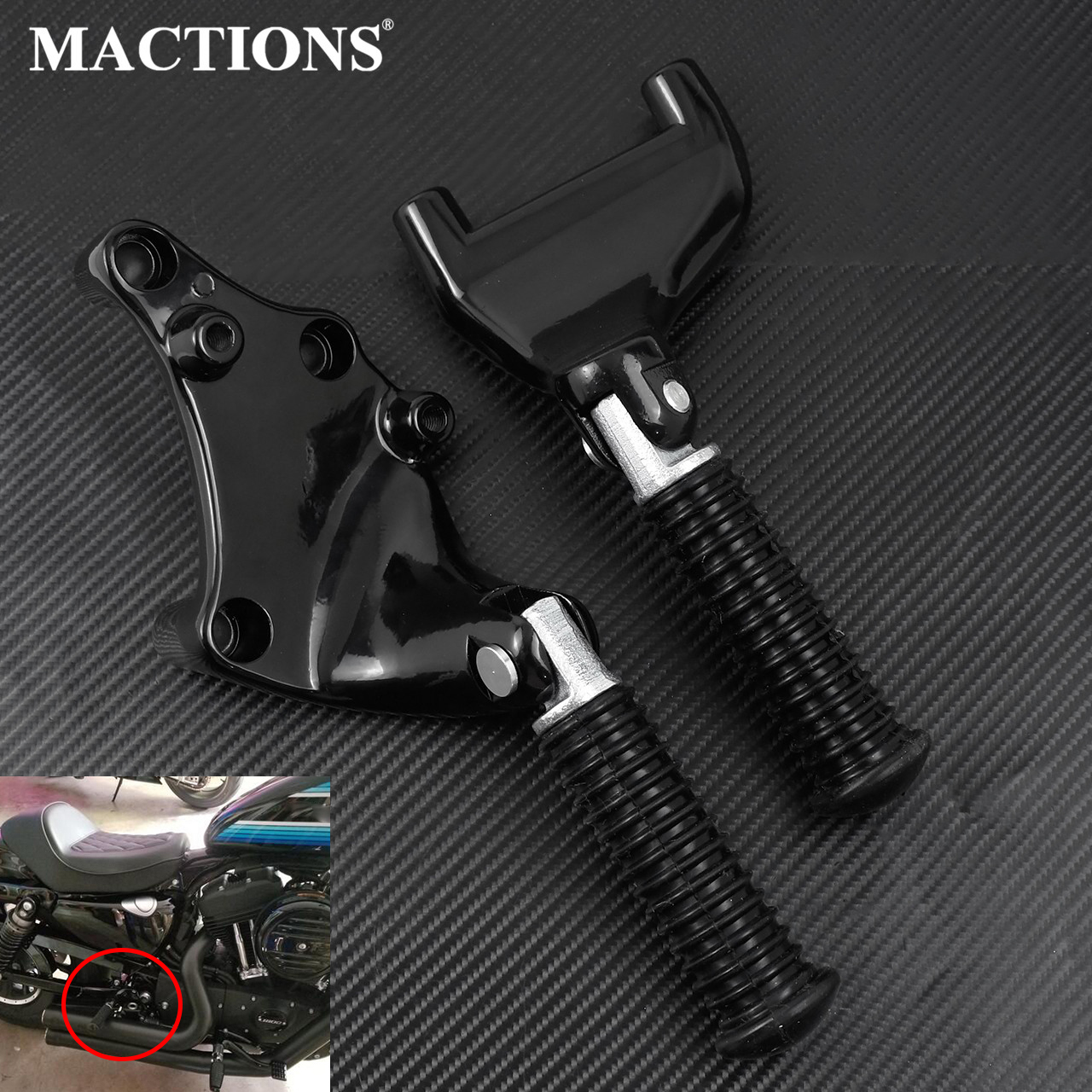 Rear Foot Rests Pegs Pedal Back Passenger Footpeg Assembly W/ Mounting Kit For Harley Sportster XL 883 1200 883C 883L 2014-2019