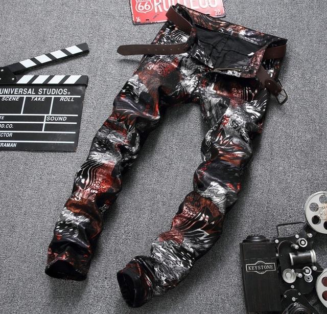 Européenne Discothèque style Hommes de jeans pantalon Droit de luxe marque zipper Patchwork pantalon zipper slim rouge Imprimer jeans pour hommes