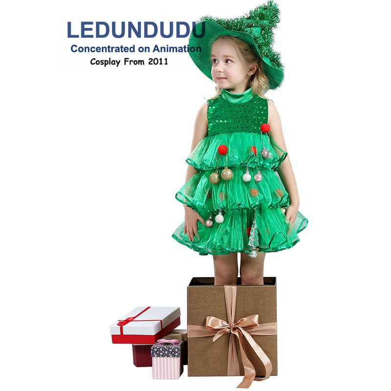 Girls Christmas Tree Cosplay Dress Children's Christmas Party Grenn Decoration Costume Kids Layered Dresses (No Balls on dress)
