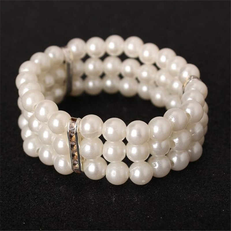 Fashion bracelet for Women three Crystal drill flash elegant imitation pearl bracelet multilayer stretch bracelet free shipping
