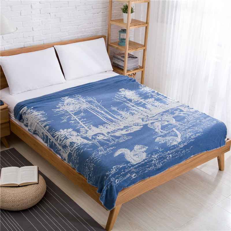 Aliexpress.com : Buy Cozzy Cotton Knitted Throw Soft Warm Cover Blanket  Couch Sofa Or Bed Knitting Forest Scenic Pattern 150 X 200 Cm Grey / Blue  From ...