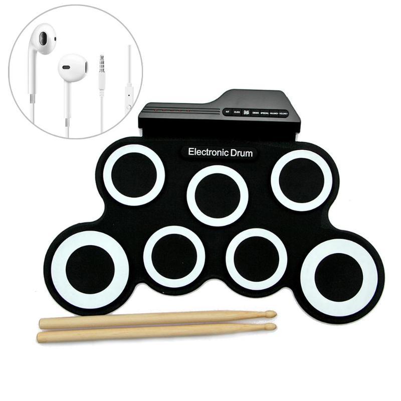 Jouet électronique de musique de tambour de main enroulable avec des bâtons casque manuel enfants Kit de Pad numérique USB jouets d'instrument de pratique musicale