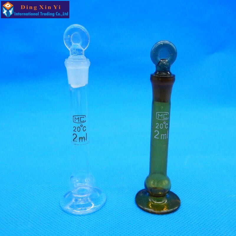 2 ml Trong Suốt tích flask với dưới ngồi Liên Tục khối lượng chai flint bình thủy tinh tích Phòng Thí Nghiệm tích flask