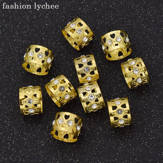 ליצ 'י האופנה 10 יחידות זהב צבע קריסטל חרוזים פיליגרן מתכוונן Dreadlock שיער ברייד לנשים אופנה אבזרים לשיער