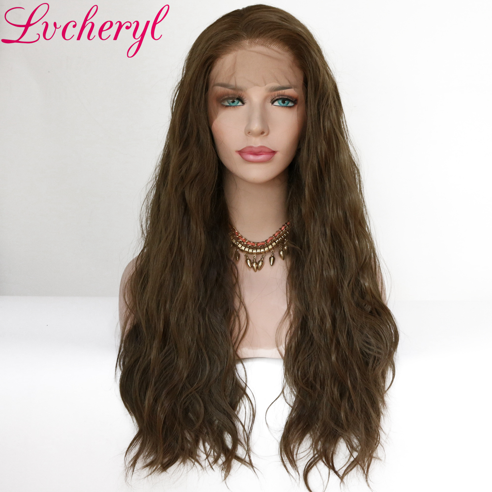 Lvcheryl 13x6 Synthetic Lace Front Wig Chestnut Brown Natural Wave Futura Fiber Hair Wigs Heat Resistant Synthetic Wigs-in Synthetic Lace Wigs from Hair Extensions & Wigs    1
