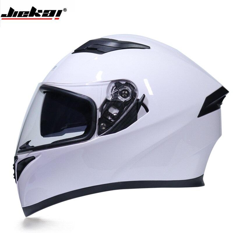 2018 Automne Hiver Nouveau JIEKAI 316 Plein Visage Moto Helmes de Chevalier Motocross Moto Casque de ABS PC lentille Viso