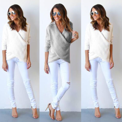 0e471e715 Women Oversized Long Sleeve Pullover Sweaters V neck Cross Knitted Loose  Grey White Sweater Tops Winter Autumn