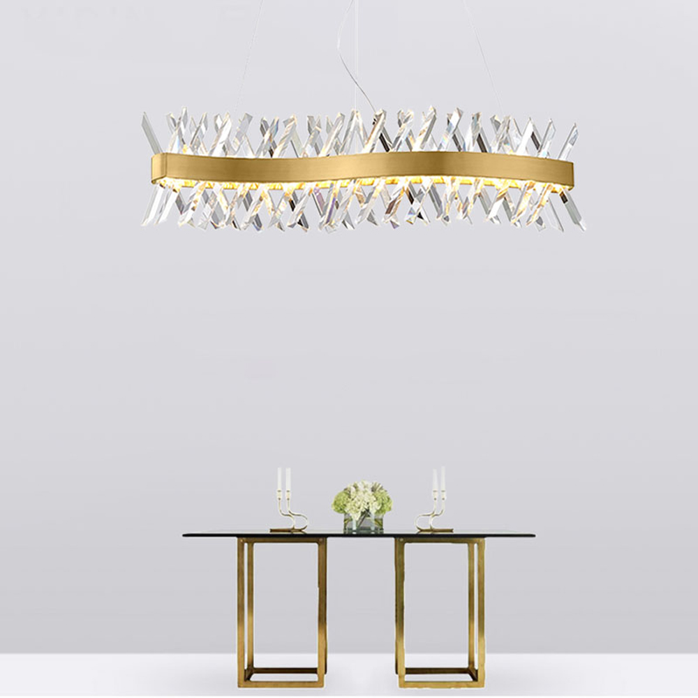 wave design long crystal chandelier LED lamp AC110V 220V lustre cristal kronleuchter home lighting bar light