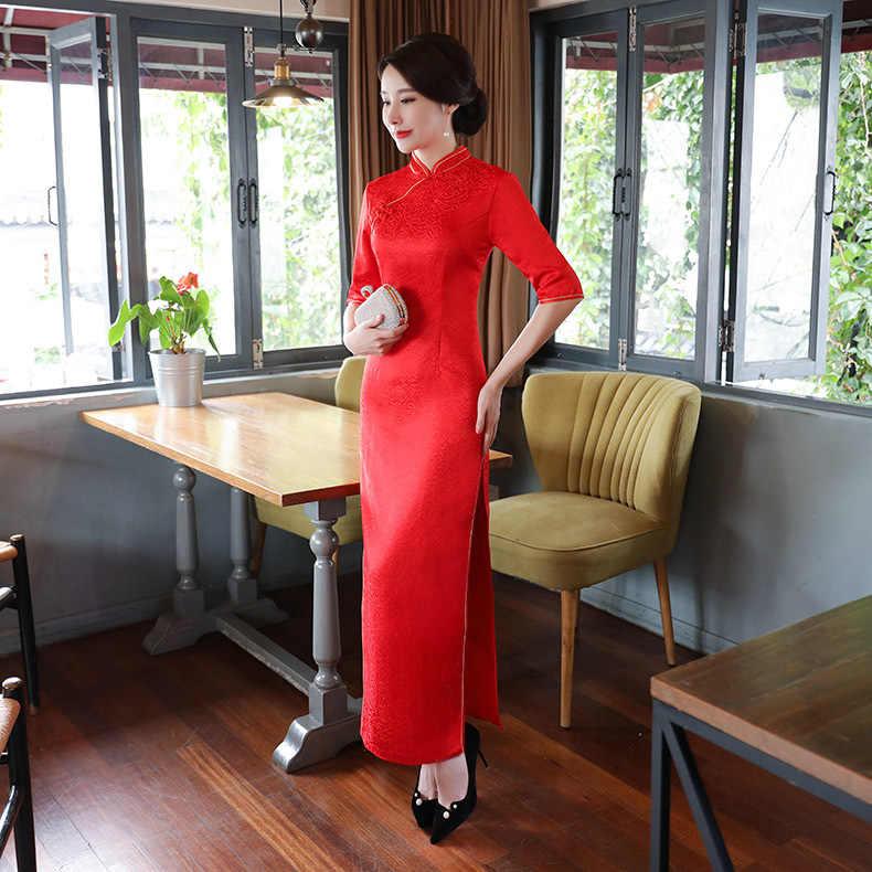 Red Lady Lange Cheongsam Vintage Chinese stijl Mandarijn Kraag Jurk Womens Zomer Qipao Slim Party Jurken Vestido S-4XL