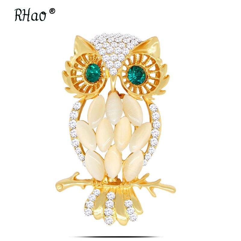 RHao font b Luxury b font font b Crystal b font Opal Owl Brooches Gold color