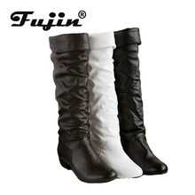 Fujin Women Winter Boots Spring Autumn Riding Boots Dropshipping High Boots Women Black Long White Boots Warm Shoes Large Size(China)