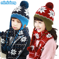 Children Baby Hat Scarf Sets Autumn Handmade Knitted Kids Boys Snowflake Pattern Hats Scarves 2 Pcs