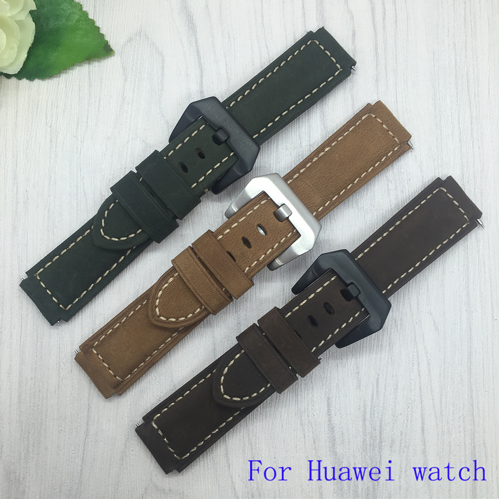 Quality Genuine Leather Watchband 22 18mm For Huawei font b watch b font Scrub Leather Strap