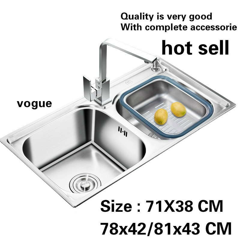 Free Shipping Household Standard Vogue Kitchen Double Groove Sink Wash The Dishes Stainless Steel Hot Sell 71X38/78x42/81x43 CM