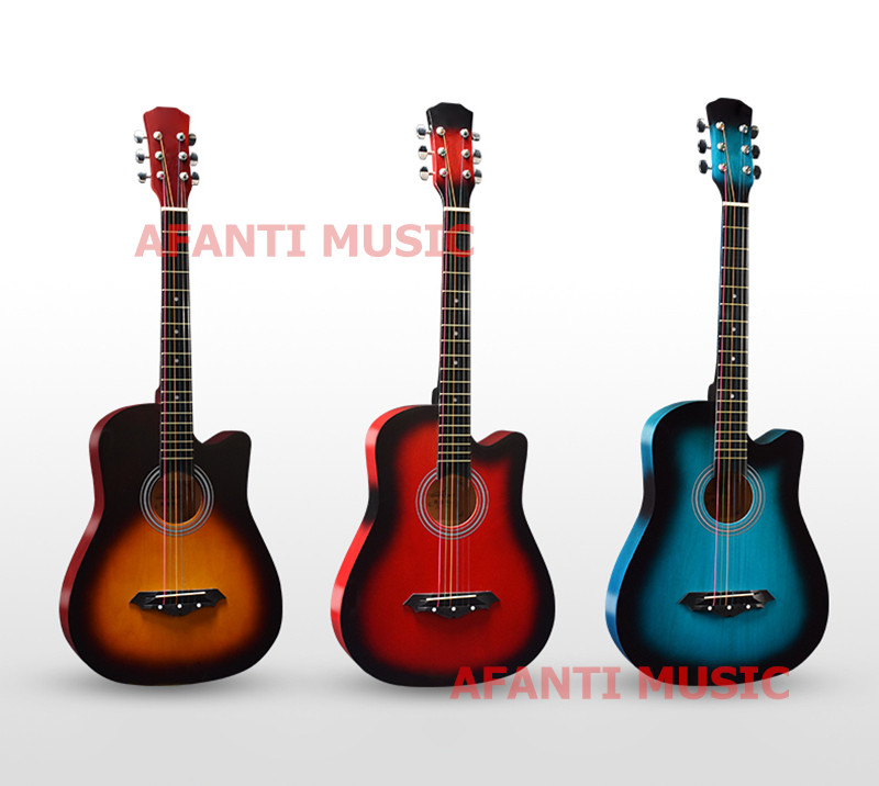 38 Inch White Color Acoustic Guitar Of Afanti Music Aal 1281 In