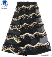 Beautifical latest african sequin lace fabric 2019 french tulle lace fabric nigerian wedding african lace black mesh MLN697