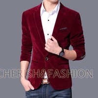 Mens slim fit blazer velvet male jacket 2019 spring and autumn navy black blue notch lapel casual coat Free shipping