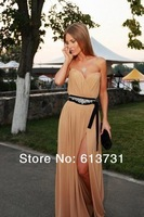 New Fashion 2014 Prom Dresses Long Champagne Chiffon Sweetheart Ruched Floor Length High Slit Evening Dresses With Beading Belt