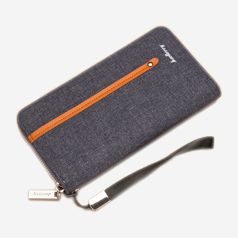 Leather Wallet Male Purse Men Business Card Wallet Coin Purse High Quality Wristlet Vintage Long Phone Clutch Cash Pocket Zipper