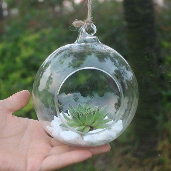 Soledi Clear Round Hanging Glass Vase Bottle Terrarium Hydroponic