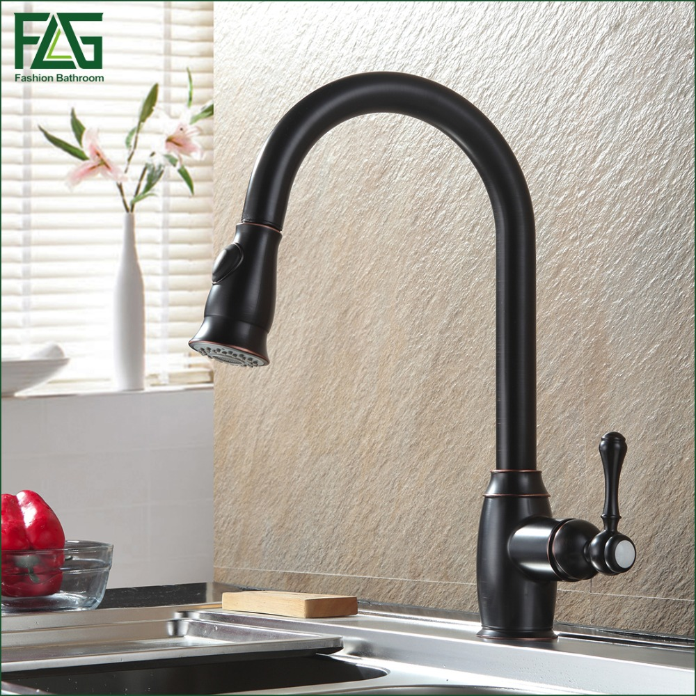 home office tools black kitchen faucet promotion black kitchen faucet FLG House Scenery Tap Oil Rubbed Bronze Black Chrome Nickel Kitchen Faucets Grifo Pull Out Kitchen Robinet Cold And Hot Tap C