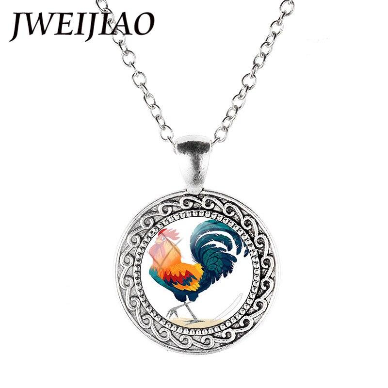 Chicken Necklace Black Dome glass Photo Art Chain Pendant Necklace