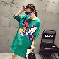 2018t shirt women female long harajuku shirt long sleeve women shirt summer style long cotton t shirt large size CC295
