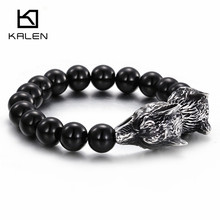 Kalen African Black Glass Beads Bracelets Men's Stainless Steel Rock Animal Two Wolf Head Charm Bracelet Wrap Hand Chain Jewelry