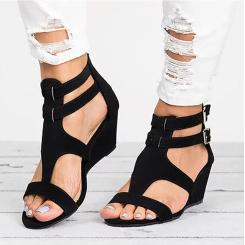 Details about Women New Design Retro Wedges Buckle Cover Heel Gladiator Sandals