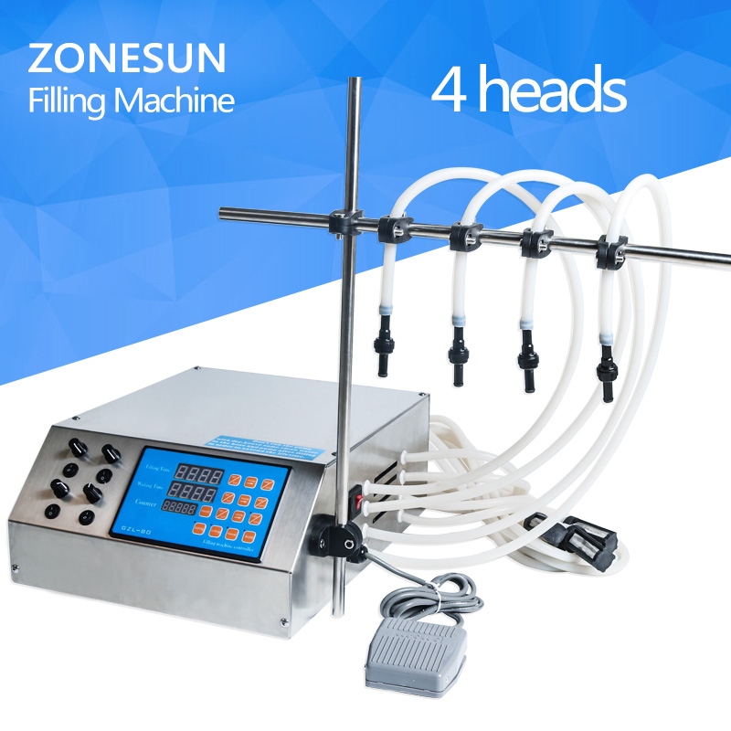 ZONESUN 4nozzle bottle water filler semi-automatic liquid vial desk-top filling machine for juice beverage soy sauce oil perfume zonesun manual paste filling machine liquid filling machine cream bottle vial small filler sauce jam nial polish 0 50ml
