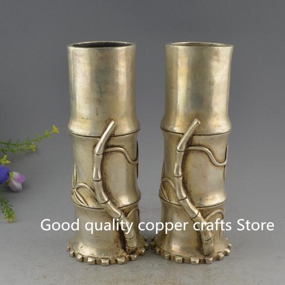 Conteneur de stylos en bambou | Cuivre blanc magnifiquement sculpté, Vase à crayons une paire