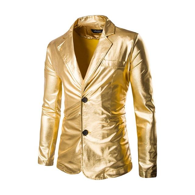 Блейзер Мужская Ночной Клуб Этап Мужчины Золото Серебро Костюм Хэллоуин куртка Мода Певица Костюм Slim Fit Одежду Хозяина Для мужчины