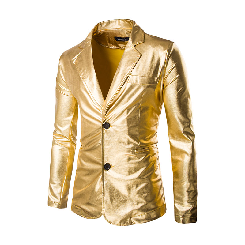 Blazer Mens Night Club Stage Men Gold Silver Suit Halloween Jacket Fashion Singer Suit Costume Slim Fit Host Clothing For Men