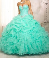 2016 Hot Sale Cheap Ball Gowns Backless Beaded Mint Green Quinceanera Dresses For Girl Sweet 16