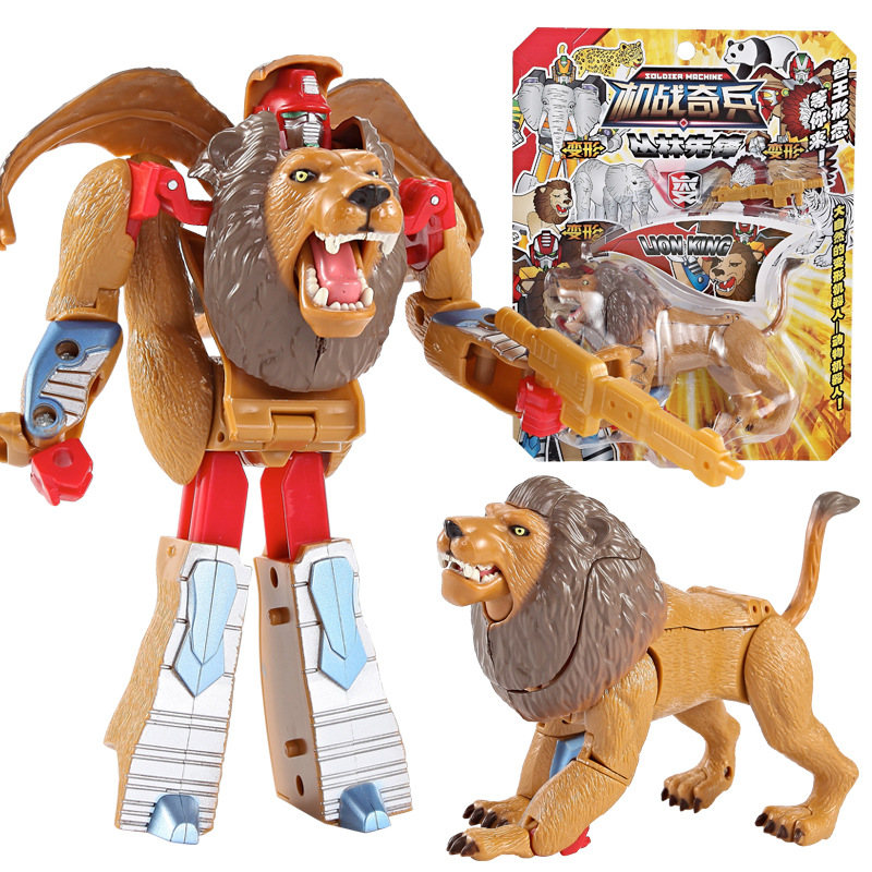 3C Certification Transformation Robot Zoo Tiger Lion Panda Action <font><b>Figure</b></font> Children's Educational Deformation Robot Toys Gift image