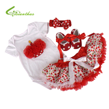 Baby Girls Clothing Sets Romper Headband Shoes Skirts Clothing Set Birthday Party Clothes Bebe Princess Free