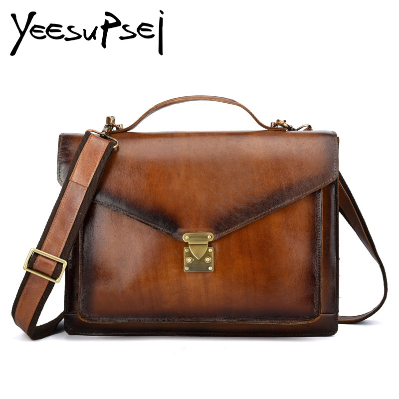 YeeSupSei Vintage Genuine Leather Women Bag Gloden Lock Cover Small Women Messenger Bag Single Strap Shoulder Bag Crossbody Bag yeesupsei daily bag women leather handbag golden chain small women messenger bag candy color women shoulder bag party lock purse