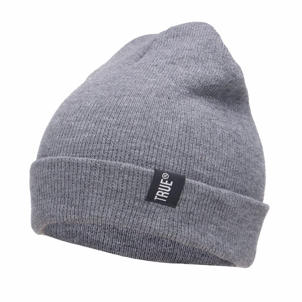 Letter True Casual Beanies for Men Women Fashion Knitted Winter font b Hat b font Solid