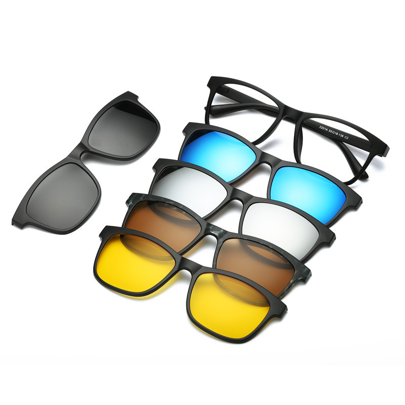 Polarized Sunglasses Set with 5PCS Magnetic Clips TR Male Clip On Glasses Magnet Casual Optical Myopia Eyewear