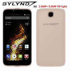 cheap celular smartphones BYLYND X6 front camera fill light Android 6.0 MTK6580 Quad Core 5.0