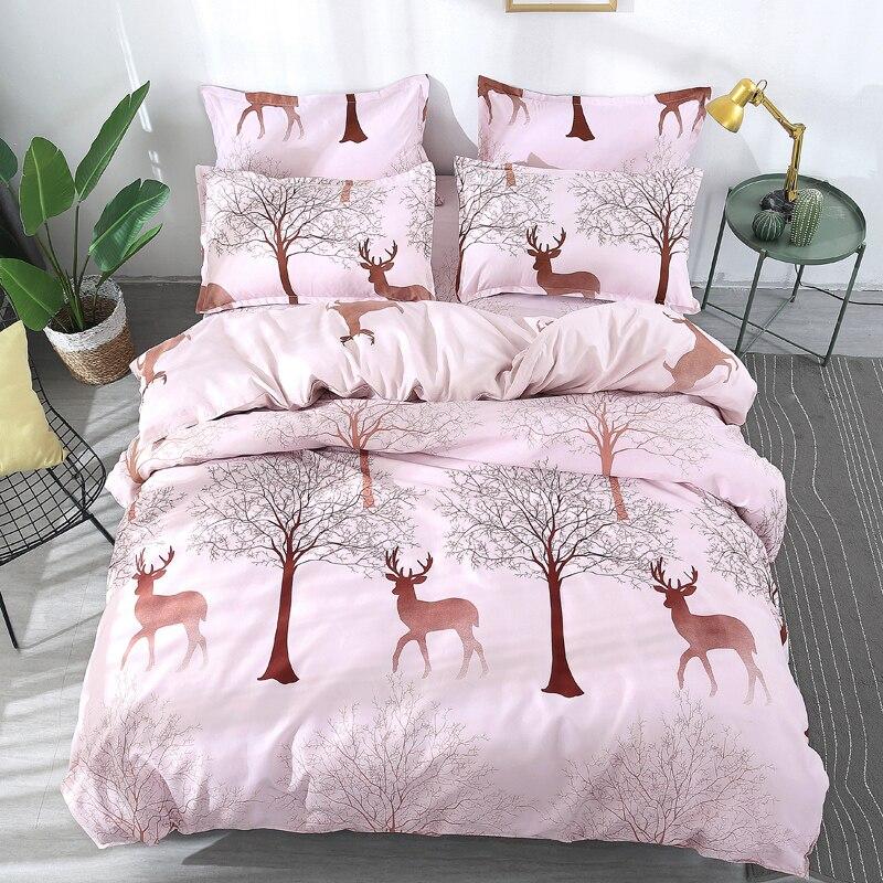 Forest Deer Bedding 4Pcs Duvet Cover Set King Size,1 Quilt
