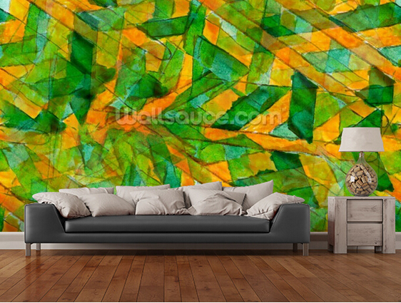 Design Behang Keuken : Kitchen walls behang geel ornament