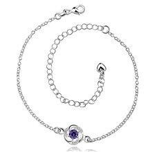 Серебряные браслеты с Австрийской кристалл фиолетовый сладкий стиль мода ювелирные изделия для женщин дешевые глобальный «горячий»